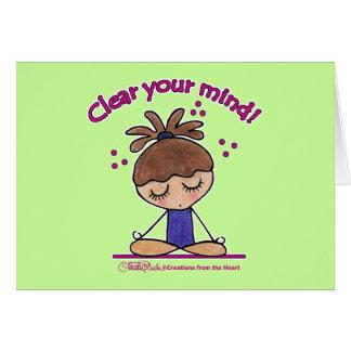 Yoga Chica-Clara su mente Tarjeta De Felicitación