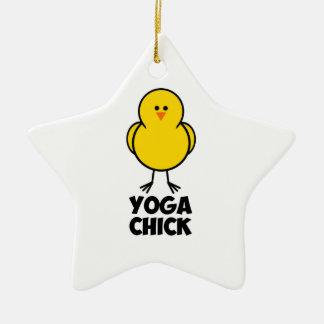 Yoga Chick Ceramic Ornament