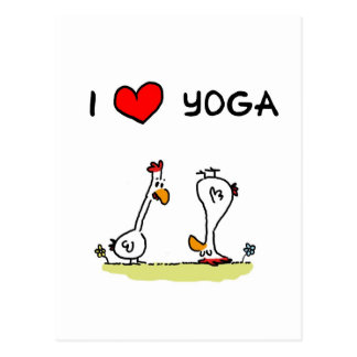 Yoga chickens postcard
