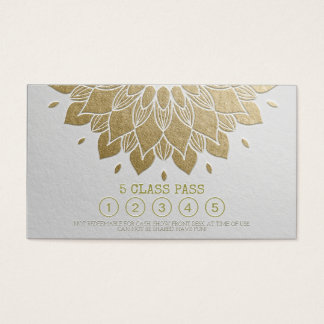 Yoga Class Pass White Gold Embossed Mandala Floral Business Card