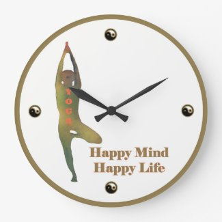 Yoga Clock - Happy Mind Happy Life