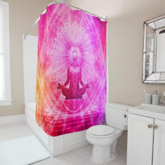 Yoga colorida del espiritual de la meditación cortina de baño