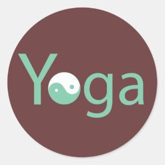 Yoga con Yin Yang Pegatina Redonda