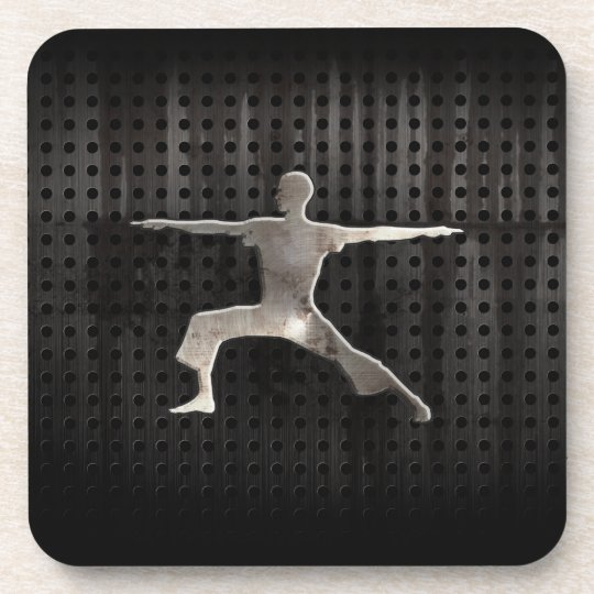 Yoga; Cool Black Beverage Coaster
