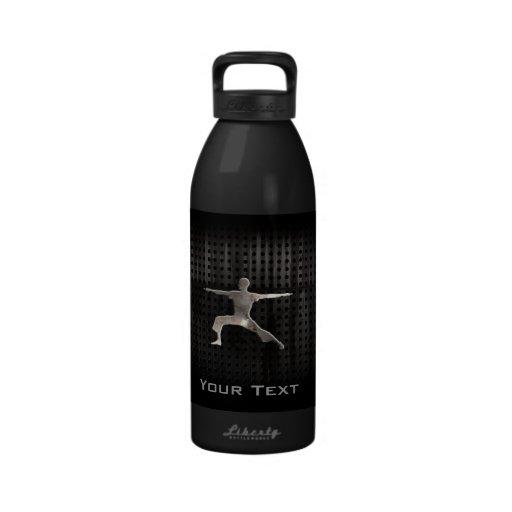 Yoga; Cool Black Reusable Water Bottle