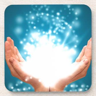 Yoga curativa verde del zen de la energía de Reiki Posavasos De Bebidas