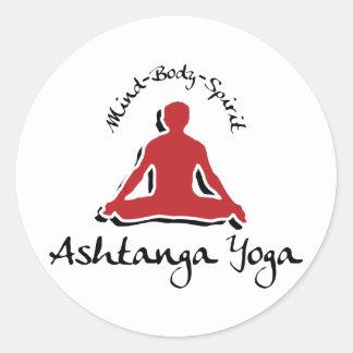 Yoga de Ashtanga Pegatina Redonda