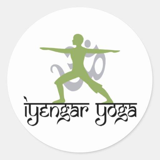 Yoga de Iyengar de la actitud del guerrero Etiquetas Redondas