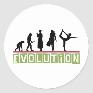 Yoga de la evolución pegatina redonda