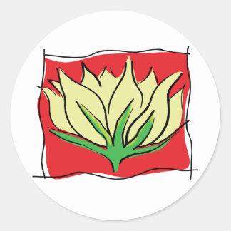 Yoga de la flor de Lotus Pegatina Redonda