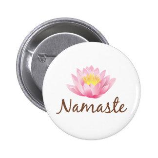 Yoga de la flor de Namaste Lotus Pin Redondo De 2 Pulgadas