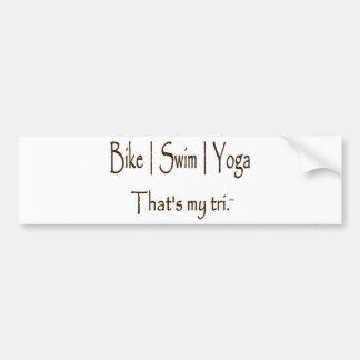 Yoga de la nadada el | de la bici el | pegatina de parachoque