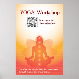 Yoga de la plantilla del poster