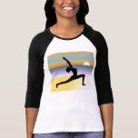 Yoga de la playa 3/4 top de las señoras del raglán camiseta
