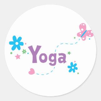 Yoga del alboroto del jardín pegatina redonda