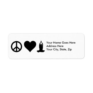 Yoga del amor de la paz etiqueta de remite