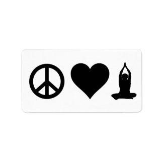 Yoga del amor de la paz etiqueta de dirección