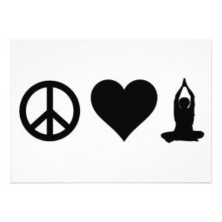 Yoga del amor de la paz invitacion personalizada