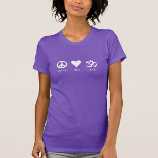 Yoga del amor de la paz, logotipo blanco de los camisas