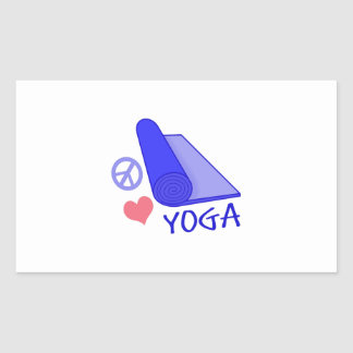 Yoga del amor de la paz rectangular pegatinas