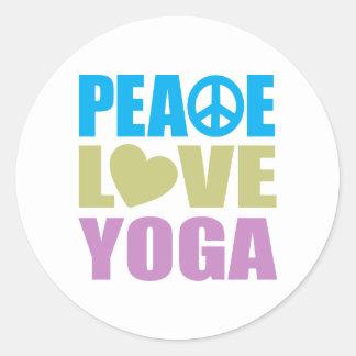 Yoga del amor de la paz etiquetas redondas