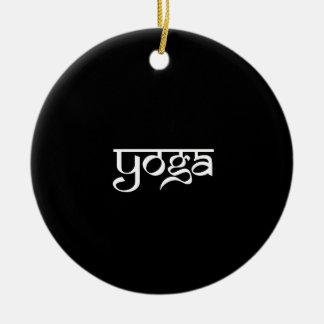 Yoga Design on Sanskrit Style Ceramic Ornament