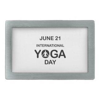 Yoga día 21 de junio internacional hebilla de cinturon rectangular