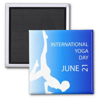 Yoga día 21 de junio internacional imán cuadrado