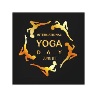 Yoga día 21 de junio internacional lienzo envuelto para galerías