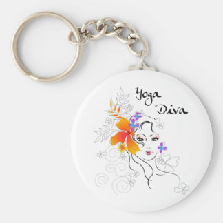 Yoga Diva Basic Round Button Keychain