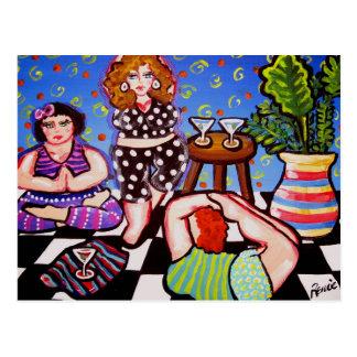 Yoga Divas with Martinis Postcard