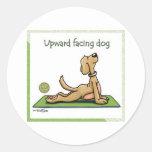 Yoga Dog - Upward Facing Dog Pose Classic Round Sticker