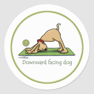Yoga - Downward Facing Dog Classic Round Sticker