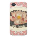 Yoga elegante del flor botánico de Lotus del vinta iPhone 4/4S Funda