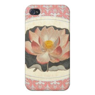 Yoga elegante del flor botánico de Lotus del vinta iPhone 4 Funda