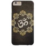 Yoga elegante del símbolo de OM del oro del Grunge Funda De iPhone 6 Plus Barely There