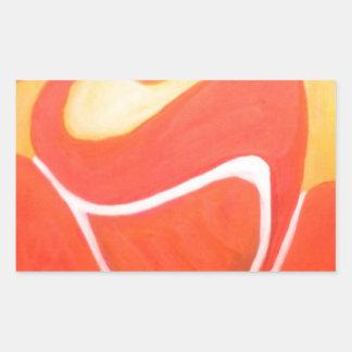 Yoga en naranja rectangular pegatina