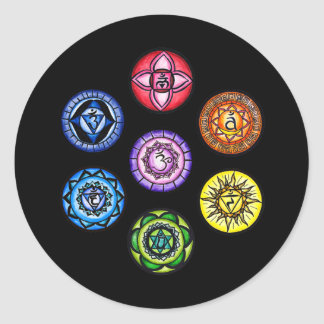Yoga - energía de 7 Chakras Pegatina Redonda