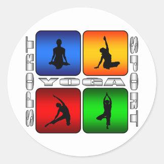 Yoga espectacular pegatina redonda