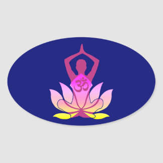 Yoga espiritual de la flor de OM Namaste Lotus en Pegatina Ovalada