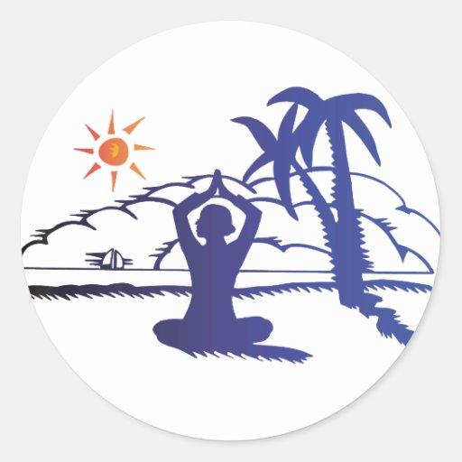 Yoga Etiquetas Redondas