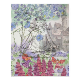 Yoga Fairy Castle Floral Collage Poster