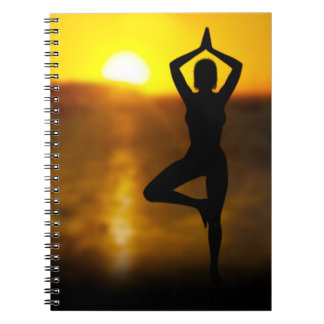 Yoga Female by the Ocean at Sunset Spiral Notebook