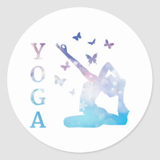 Yoga flowers and butterflies illustration classic round sticker