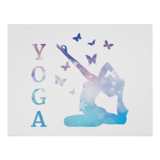 Yoga flowers and butterflies illustration poster