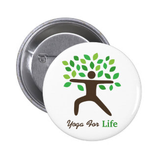 Yoga For Life, Warrior Pose, Tree Pinback Button