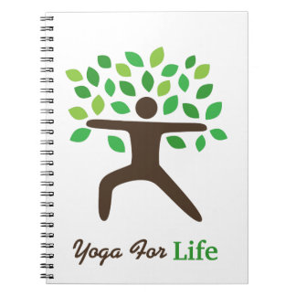 Yoga For Life, Warrior Pose, Tree Spiral Note Book