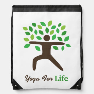 Yoga For Life, Warrior Pose, Tree Drawstring Bags