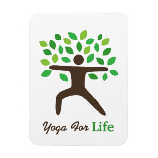 Yoga For Life, Warrior Pose, Tree Rectangle Magnets