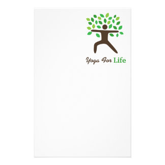 Yoga For Life, Warrior Pose, Tree Personalized Stationery